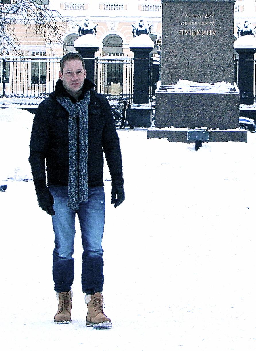 Author Oliver Wieters in St. Petersburg, Puschkin-Park, Dezember 2010
