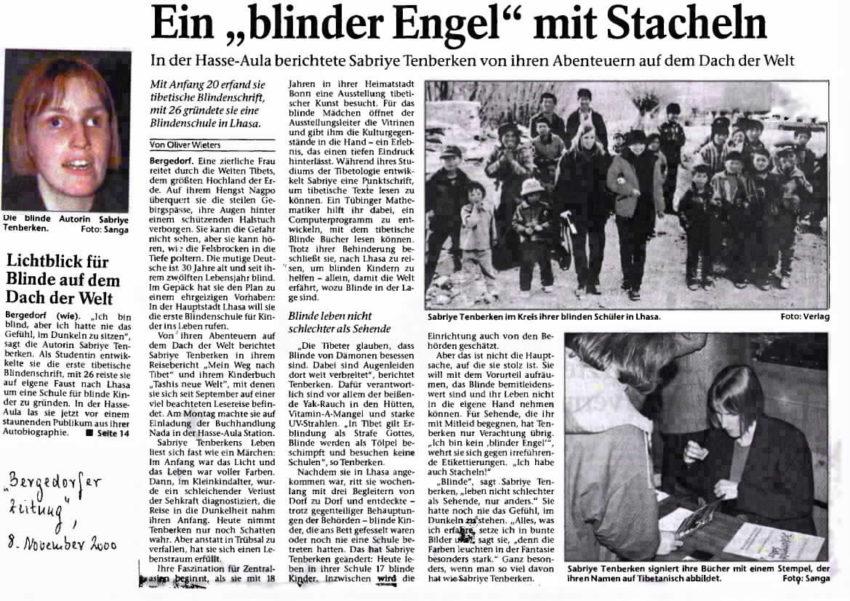 Lesung Sabriye Tenberken Bergedorf 2000, Artikel von Oliver Wieters
